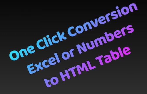 EXCEL TO HTML