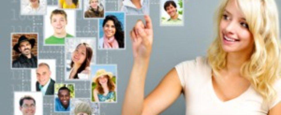 women on social network