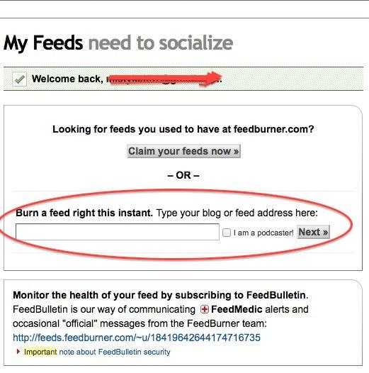 Feedburner guide step 1 to create RSS feed