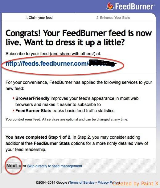 Feedburner guide step 4
