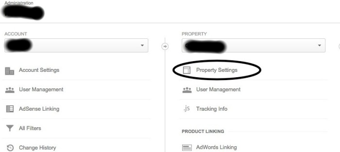 property management of blog in Google Analytics