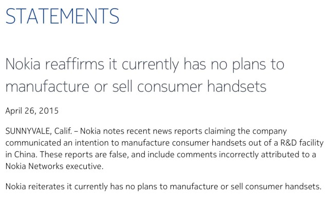 Nokia statement for mobile manufacturing