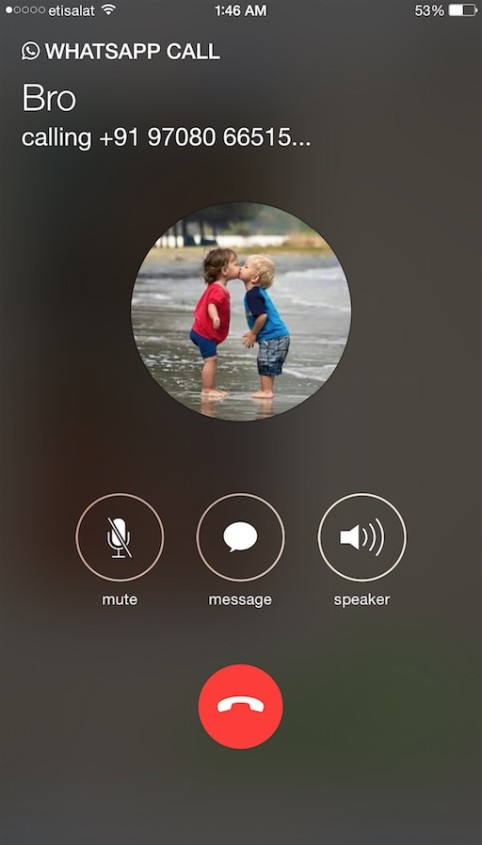 WhatsApp calling feature for iPhone users