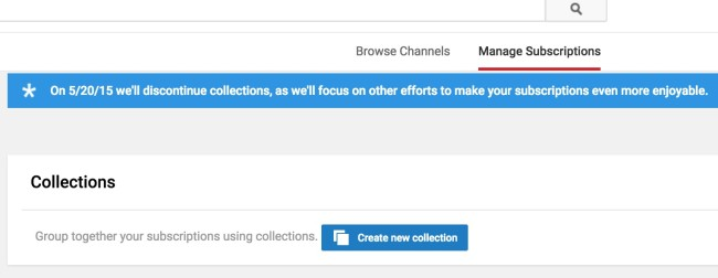 YouTube Collections feature