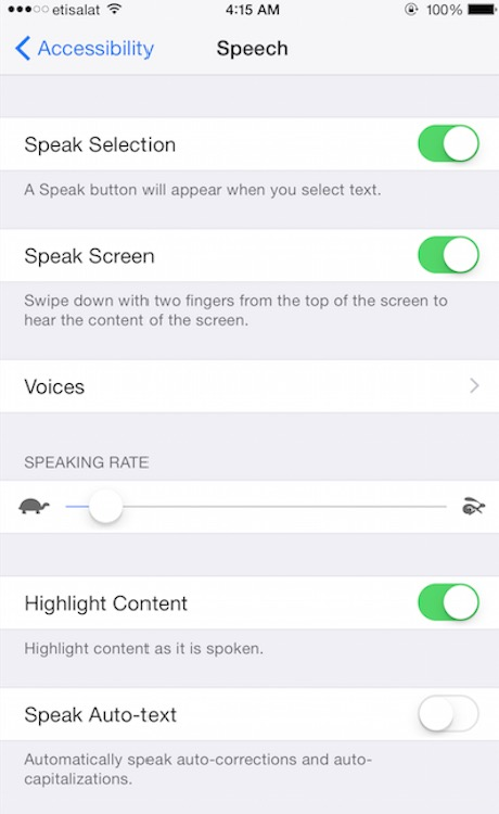 iphone text to speech feature