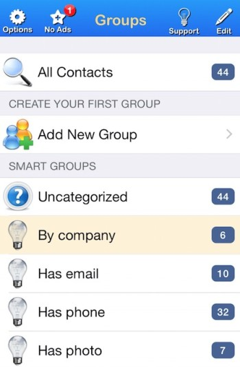 how to make group for contacts in iPhone
