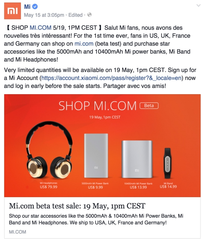 Xiaomi store launch date in the US, UK, Germany and France