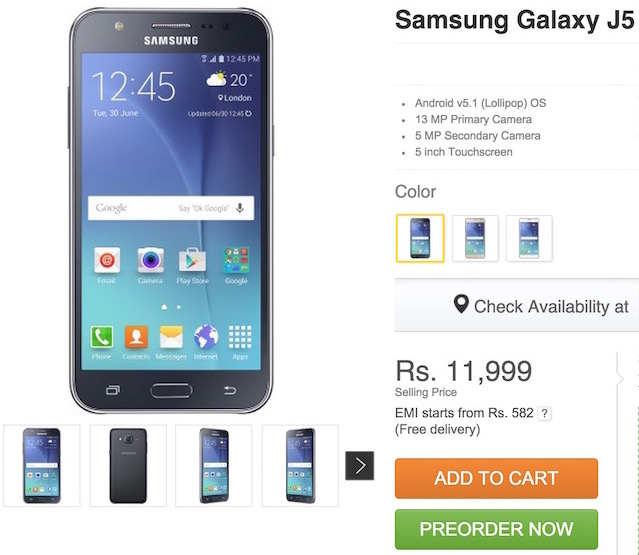 Technical Specifications of Samsung Galaxy  J5 on flipkart