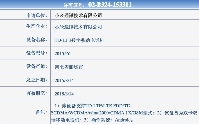 Mi 4C certification detail