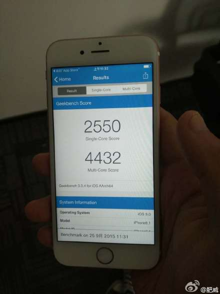 Apple A9 Geekbench benchmark