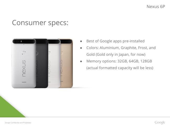Google Nexus 6P color options
