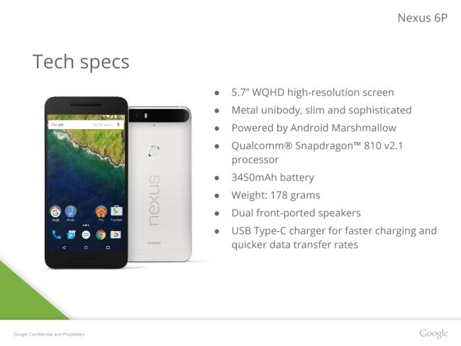 Google Nexus 6P technical specifications