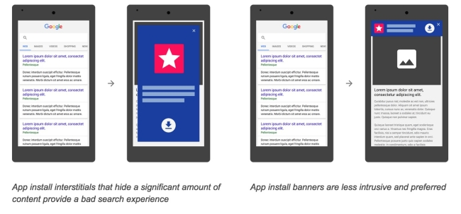 Google action against app install pop up
