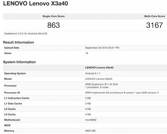 Lenovo Vibe X3 Geekbench 3 Benchmark