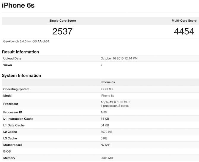 Apple A9 geekbench 3 benchmark