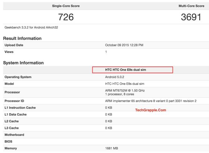 HTC E9s dual sim geekbench 3 benchmark