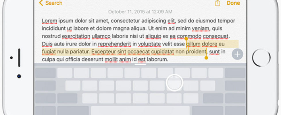 How to use iOS 9 iPhone 6s keyboard as trackpad