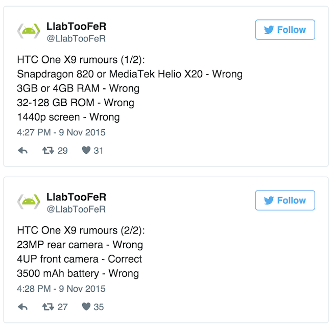 HTC One X9 leaked