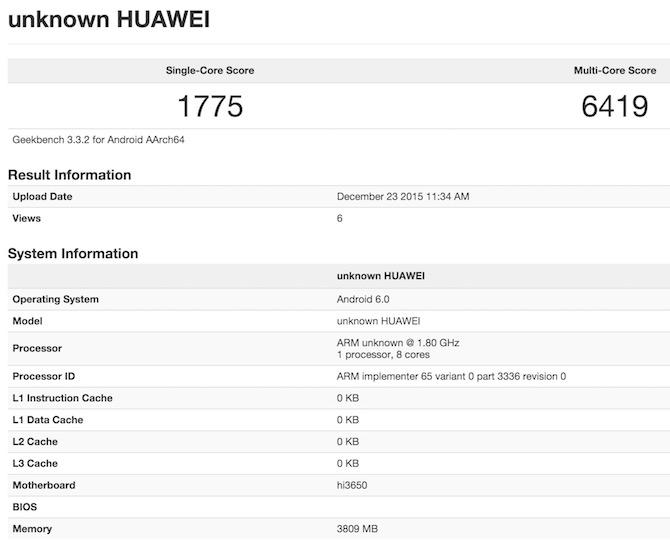 Huawei P9 GeekBench 3 Benchmark