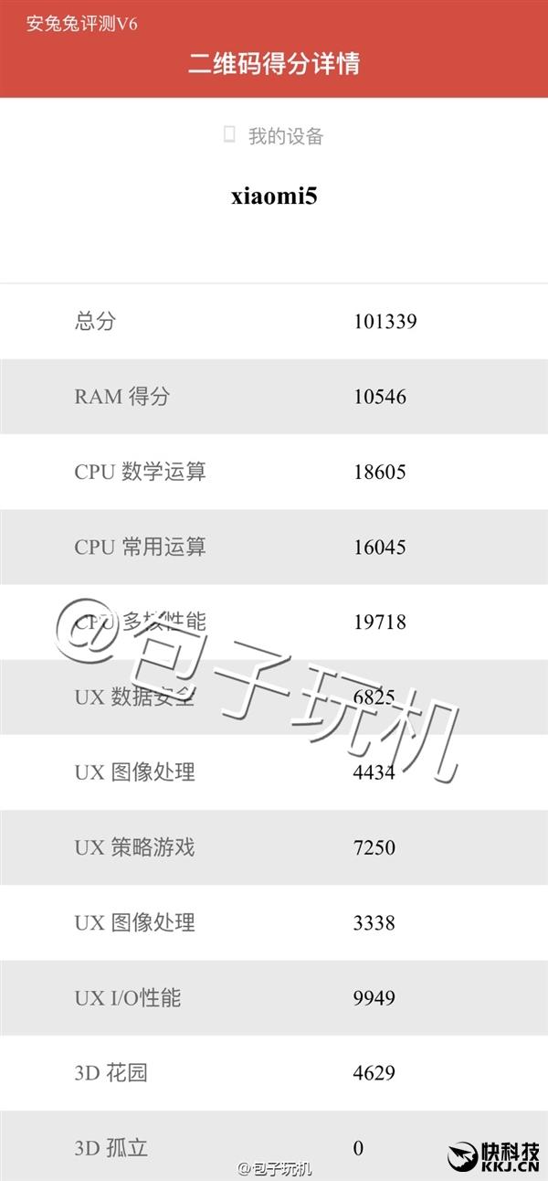Xiaomi Mi 5 Antutu 6 benchmark