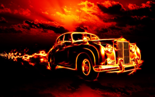 Fire Car HD wallpaper