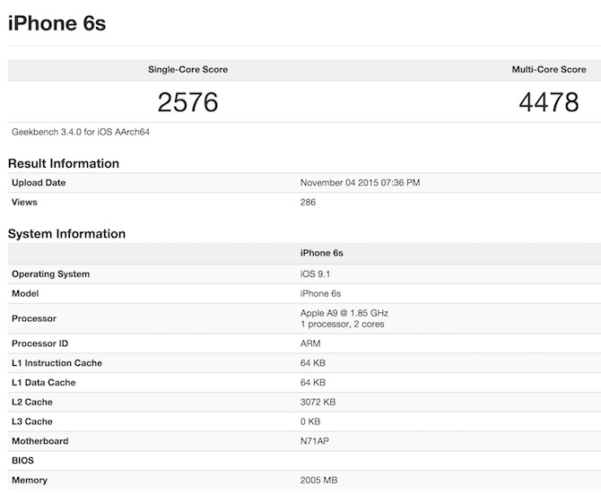 Apple A9 iPhone 6s GeekBench 3