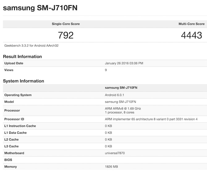 Exynos 7870 benchmark Galaxy J7 2016