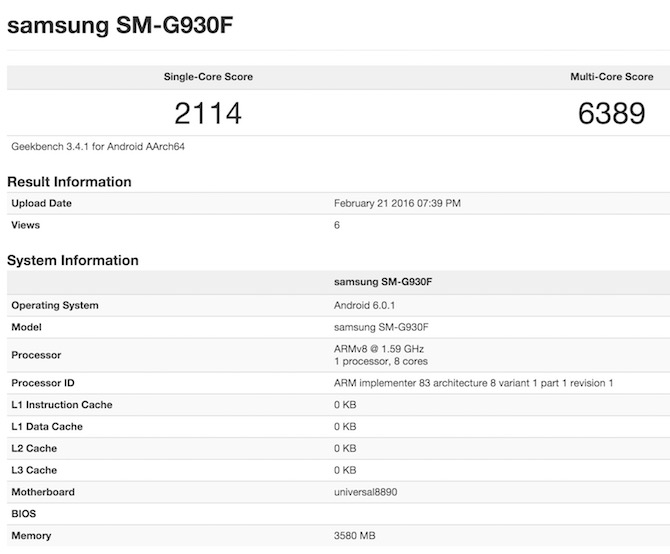 Exynos 8890 Galaxy S7 GeekBench 3