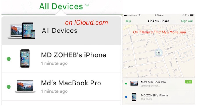 FInd my iPhone iCLoud and App option