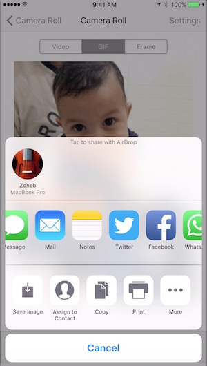 Saving live photos as GIF or Video