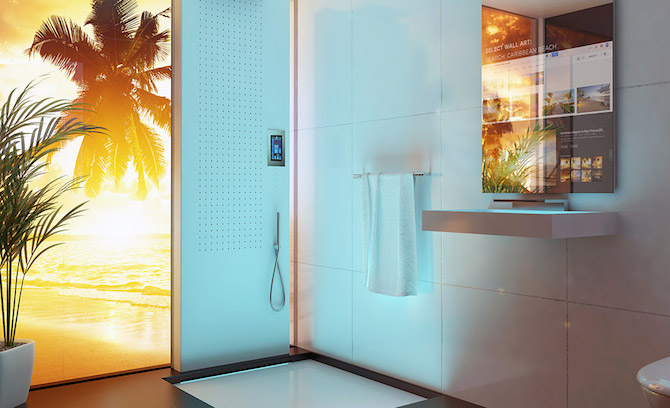 Smart Mirror for Wall Art and Shower Temperature