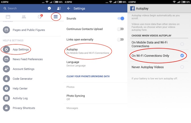 Turning off auto play on data in FB for Android