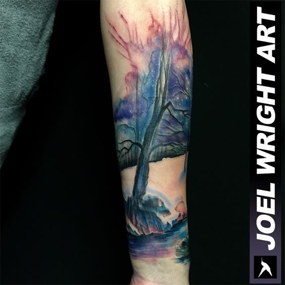 Watercolor Tattoo with black color use