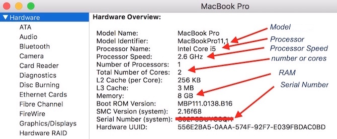Mac's System Information detail