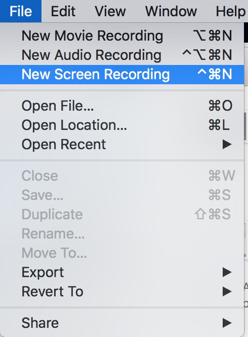 New Screen Recording QuickTime