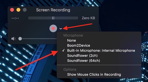 Select Microphone from QuickTime