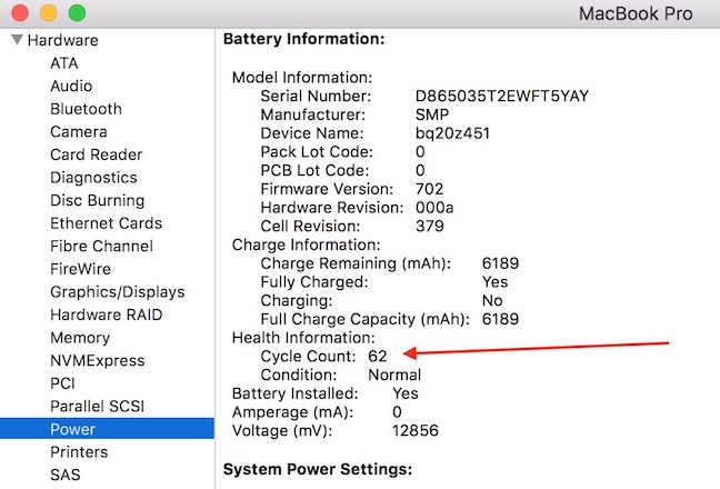 mac battery cycle