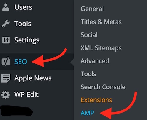 AMP Option in Yoast SEO