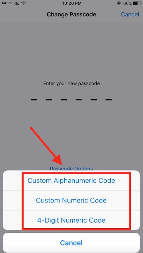 Changing Passcode options