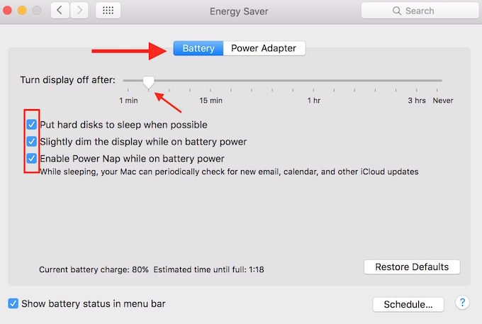 Energy Settings on MacBook
