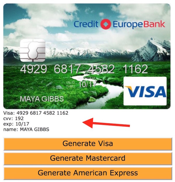 fake credit card generator - Free Visa Credit Card Numbers That Work