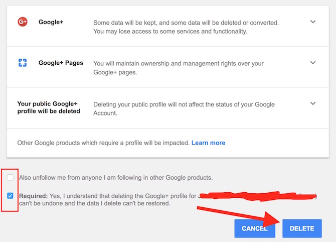 Google Plus Account Delete