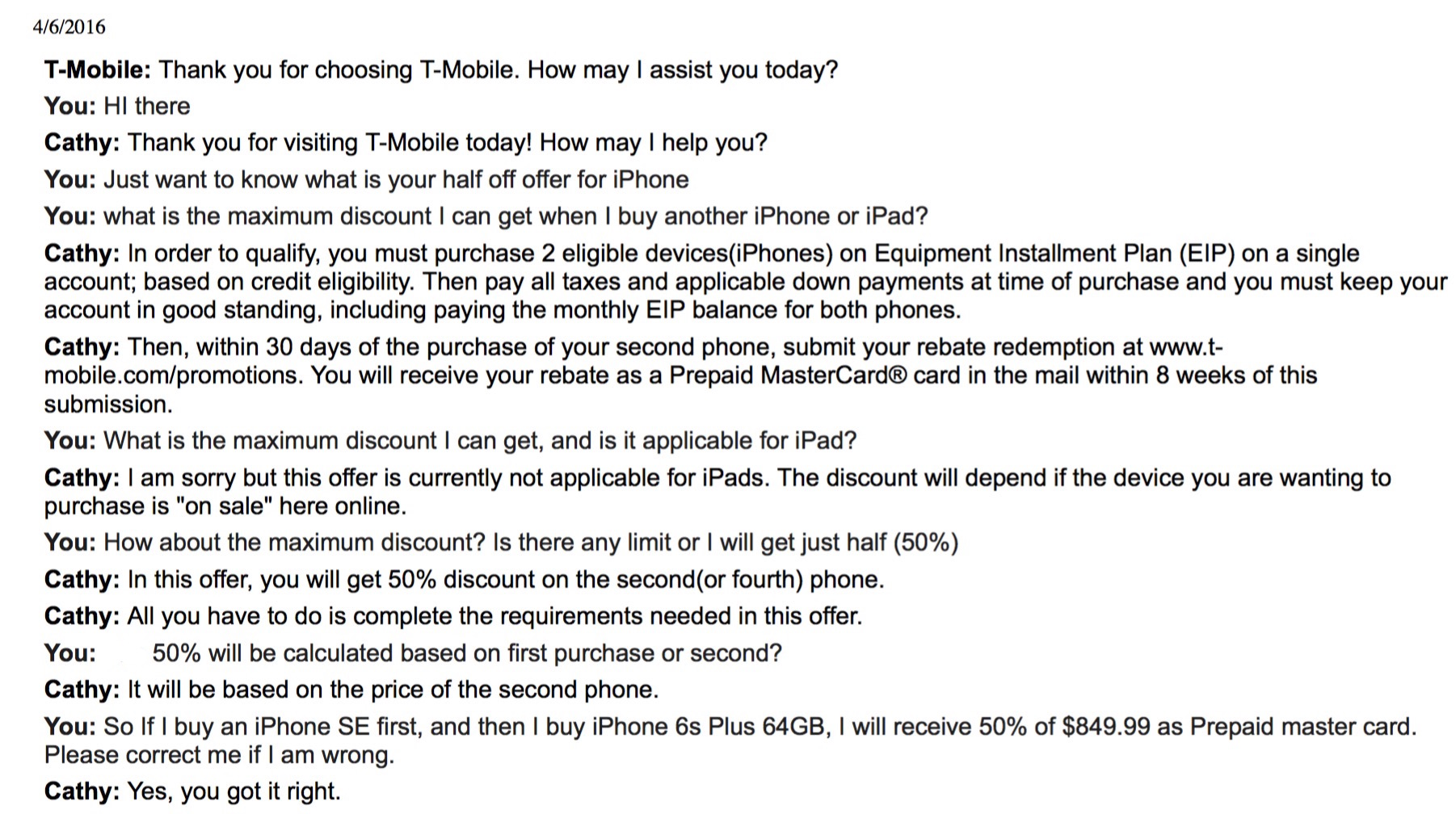 T-Mobile Chat Transcript