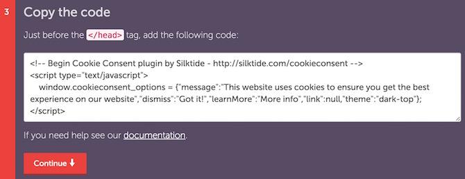 Cookie Notice code