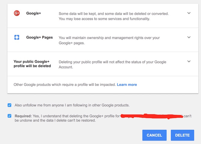 Deleting Google Plus