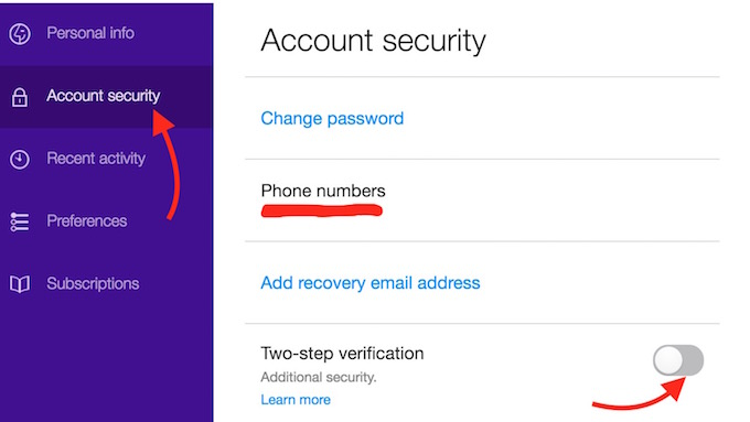 how to cancel yahoo mail verification
