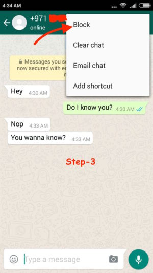 Block WhatsApp User Android step 3