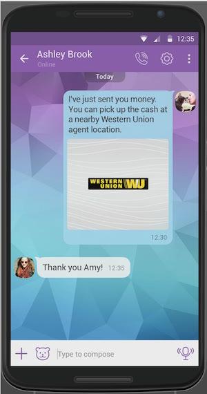 Money transfer message on Viber