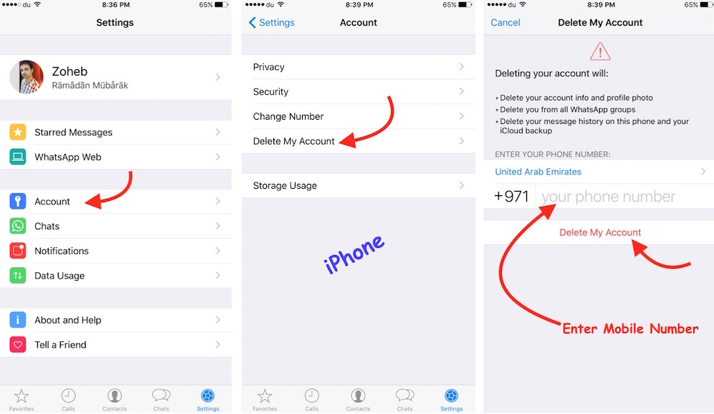 Delete WhatsApp on iPhone