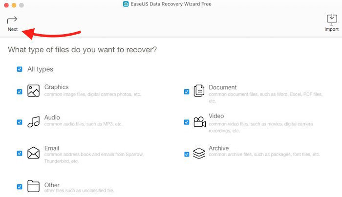 EaseUS Data Recovery Option